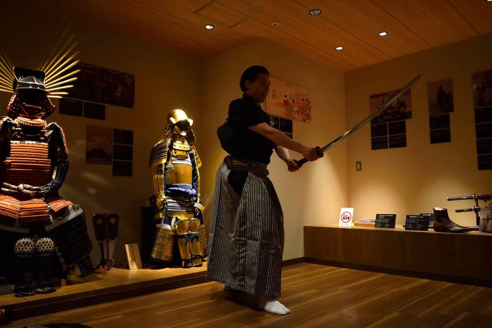 Pse de combat d'un samouraï